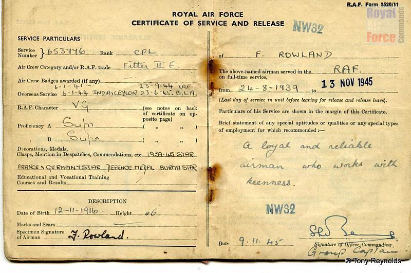 Raf Certificate Of Service And Release