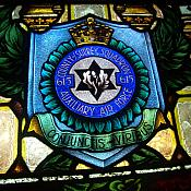 RAF No 615 Squadron Crest at the bottom of the Dave McCormick Memorial Stain Glass window at St Augustine's Catholic Church in Yarraville Melbourne
