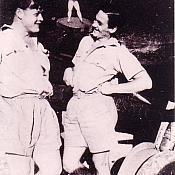 F O Frank Fahy on right in front of Spitfire KW - G of 615 squadron RAF in India 1943