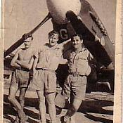 615 squadron in India 1943. Frank Fahy on the right. Spitfire KW - G