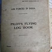 Log Book cover 1943. Original lost when baling out of KW - G on 10th August 1944 in India