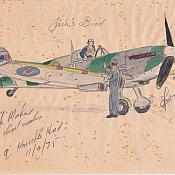 A sketch/watercolour of Jack flying a Spitfire? Unknown artist